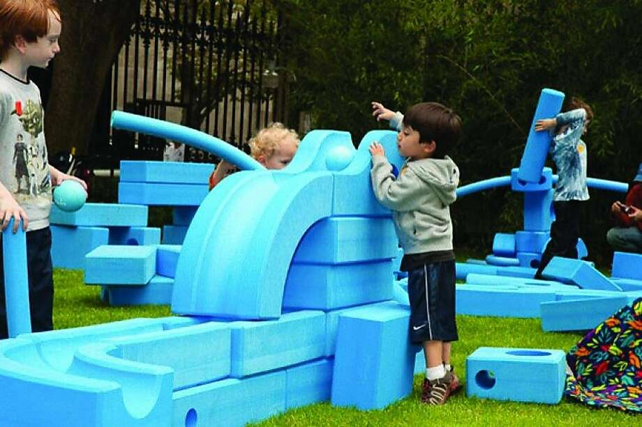 Imagination Playground features oversized, building blocks -- made of soft blue foam?that come in a variety of shapes and sizes Photo: Imagination Playground