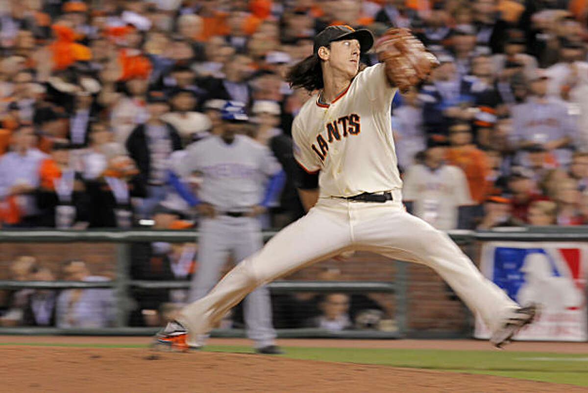 Giants Tim Lincecum pitches in the sixth inning as the San Francisco Giants take on the Texas Rangers in Game 1 of the World Series at AT&T Park in San Francisco, Calif., on Wednesday, October 27, 2010.