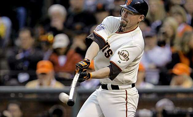 Giants Aubrey Huff, hits a double in the second inning, as the San Francisco Giants went on to beat  the Texas Rangers 11-7 in game 1 of the Major League Baseball World Series on Wednesday Oct. 27, 2010 in San Francisco, Calif. Photo: Michael Macor, San Francisco Chronicle
