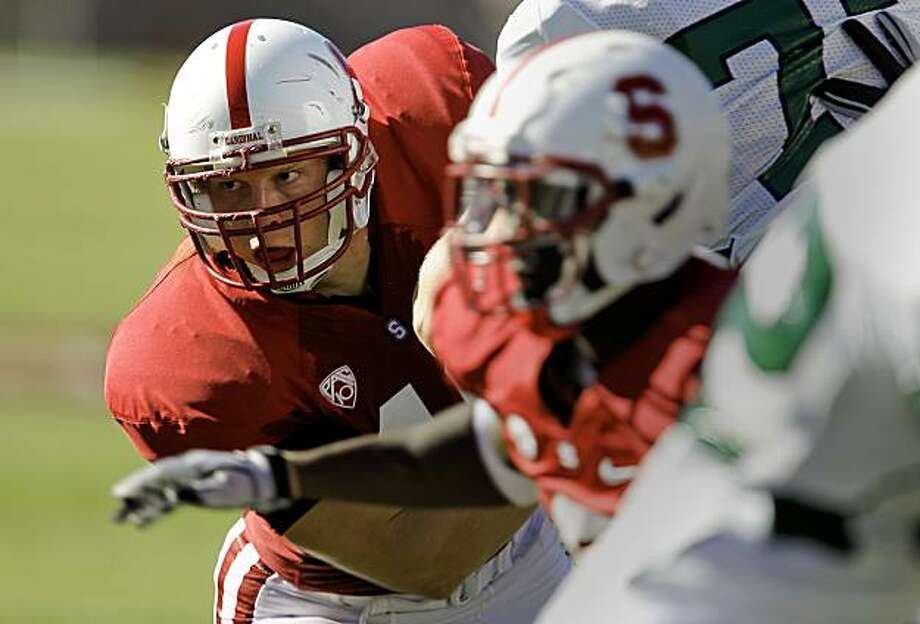 Stanford's Owen Marecic (48) on defense in the third quarter against Sacramento State on Saturday. Marecic also plays for the offense. Photo: Michael Macor, The Chronicle