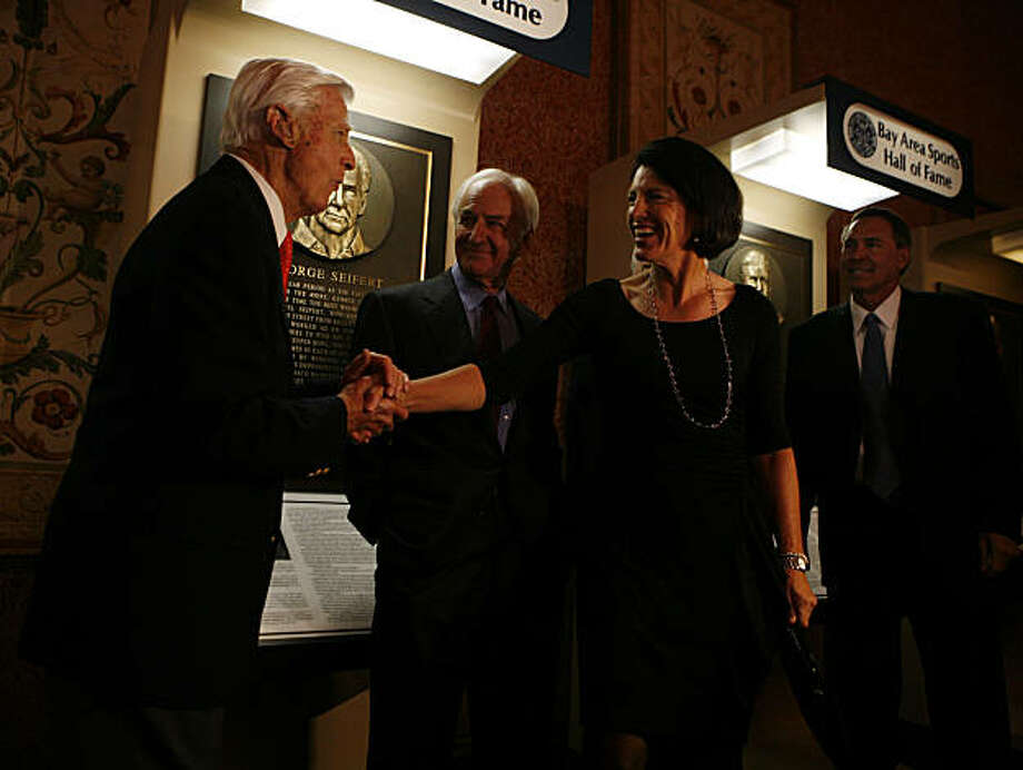 "From left, Frank ""Sandy"" Tatum, George Seifert, Juli Simpson Inkster, and Dwight Clark are the four Bay Area sports figures being inducted into the Bay Area Sports Hall Of Fame at the Westin St. Francis Hotel on Monday, March 7, 2011. Photo: Anna Vignet, The Chronicle"