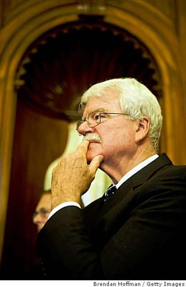 WASHINGTON - OCTOBER 13: Rep. George Miller (D-CA), chairman of the House Committee on Education and Labor, listens during a news conference with House Democrats and prominent economists on Capitol Hill on October 13, 2008 in Washington, DC. The news conference followed a forum held by Democrats to consider stimulus measures of their own to stabilize the teetering economy.   (Photo by Brendan Hoffman/Getty Images) Photo: Brendan Hoffman, Getty Images
