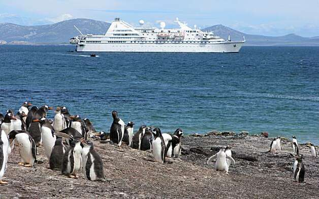 Cruise ship on shores of the Falklands. Photo: Falkland Islands Tourist Board