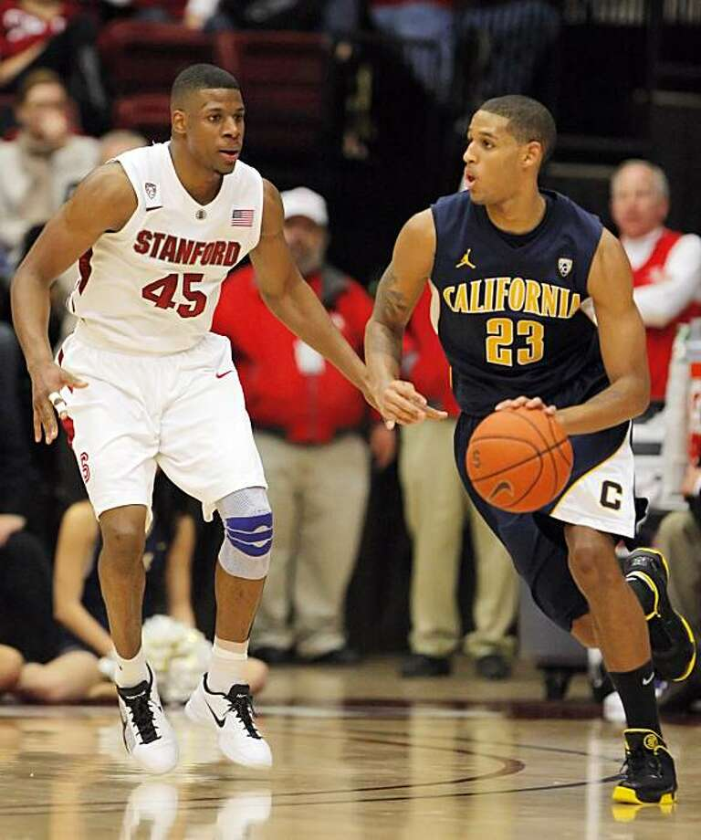 Allen Crabbe, right, of the Bears dribbles past Stanford's Jeremy Green during game action against the Cardinal. The University of California Golden Bears played the Stanford Cardinal at Maples Pavilion in Stanford, Calif., on Sunday, January 2, 2011. Photo: Carlos Avila Gonzalez, The Chronicle