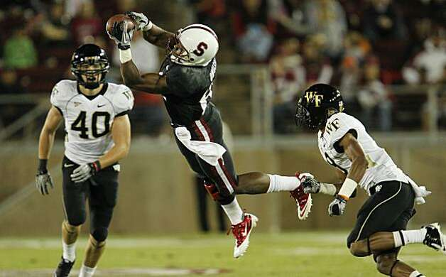 Stanford's Chris Owusu, (81) catches a pass in the first quarter for a first down as the Stanford Cardinal takes on Wake Forest in college football action at Stanford Stadium in Palo Alto, Ca. on Saturday Sept. 18, 2010. Photo: Michael Macor, The Chronicle