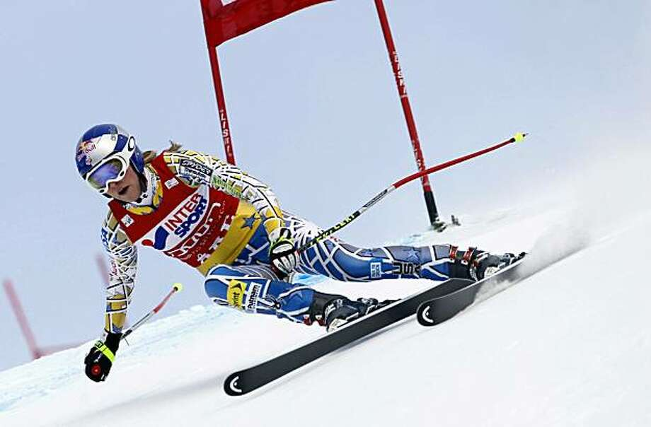 Lindsey Vonn, of the United States, speeds down the course on her way to win an alpine ski, women's World Cup downhill race, in Are, Sweden, Saturday, Feb. 26, 2011. Photo: Marco Trovati, AP