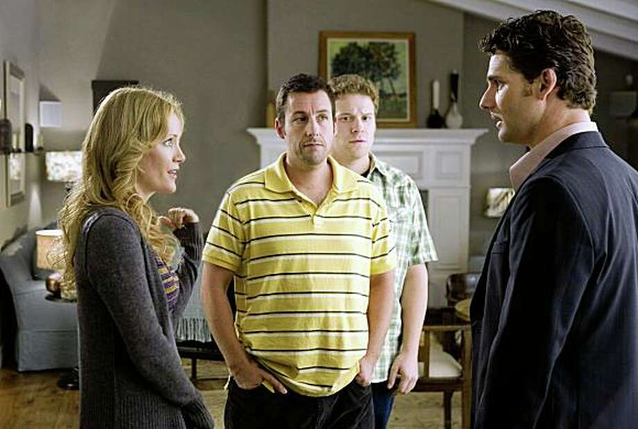 "Leslie Mann (from left), Adam Sandler, Seth Rogen and Eric Bana in Judd Apatow's ""Funny People,"" about a famous comedian who has a near-death experience. Photo: Tracy Bennett, Universal Studios"