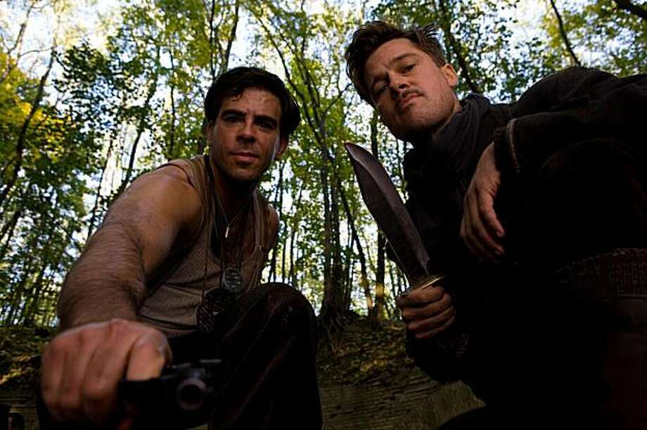 "Eli Roth and Brad Pitt in Quentin Tarantino's ""Inglorious Basterds"" Photo: Francois Duhamel, Weinstein Co."