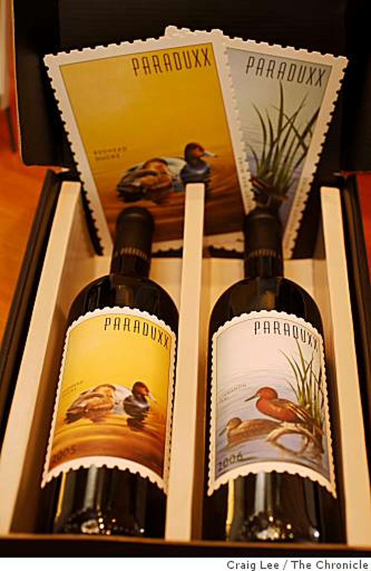 Paraduxx 2005 (left) and 2006 (right), Zinfandel and Cabernet blends at the Paraduxx tasting room in Napa, Calif., on January 9, 2009.