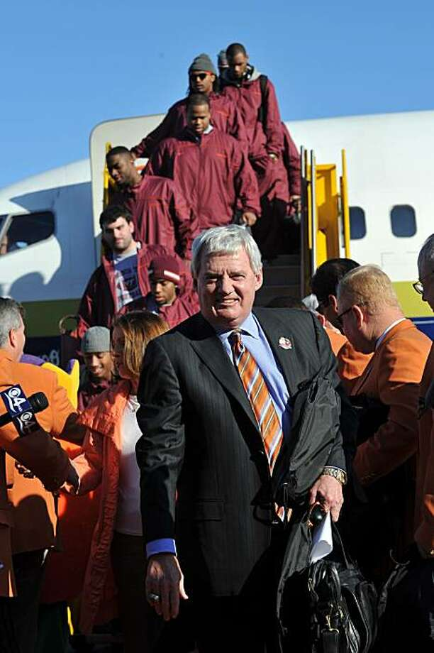 Virginia Tech's head coach Frank Beamer arrive's at Ft. Lauderdale-Hollywood International Jet Center, Tuesday, Dec. 28, 2010. Stanford will host  Virginia Tech in the Orange Bowl NCAA college football game Jan. 3. Photo: Steve Mitchell, AP