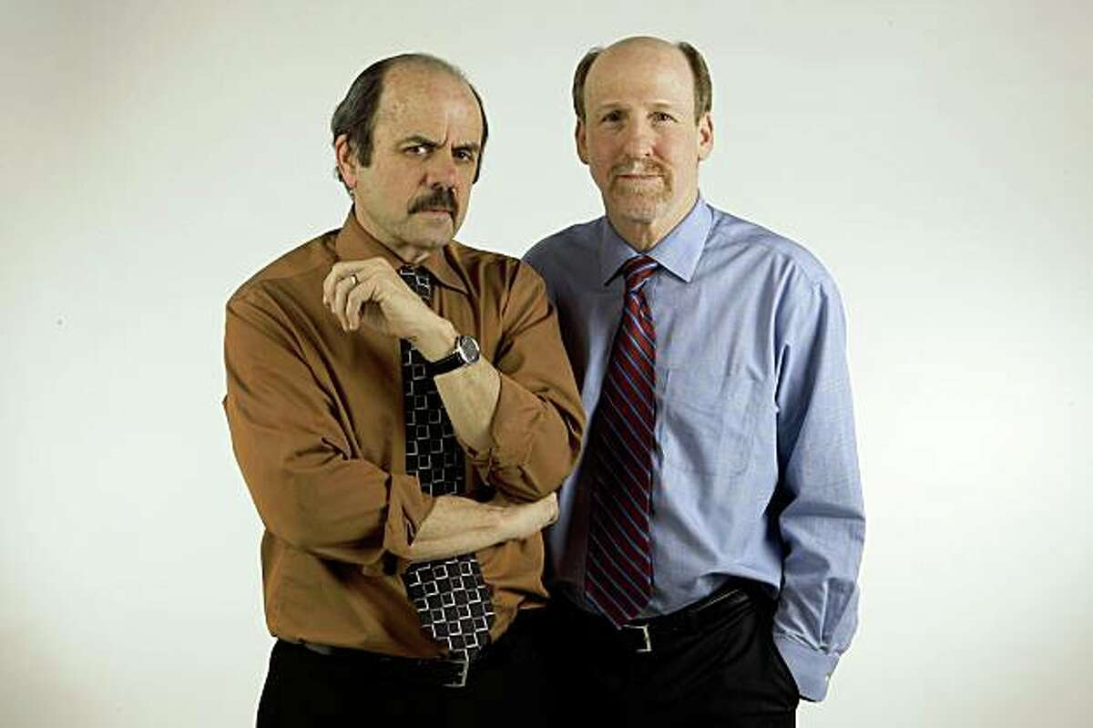 Chronicle columnists,Phil Matier and Andy Ross , stand for a photograph inside the studio on Thursday Jan. 29, 2008 in San Francisco,Calif.