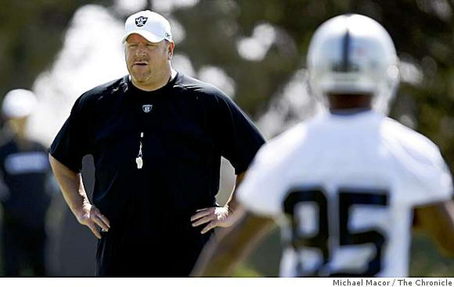 Head coach Tom Cable keeps a close watch on things as the Oakland Raiders hold their second day of mini-camp in Oakland, Calif. on Saturday May 9, 2009. Photo: Michael Macor, The Chronicle