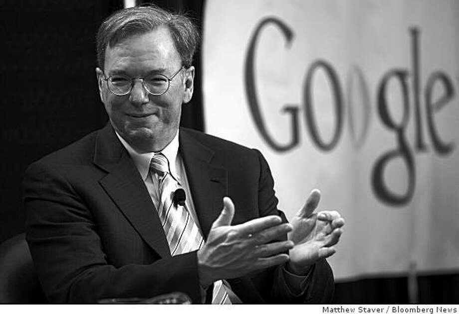 Eric Schmidt, chairman and chief executive officer of Google Inc., speaks about the internet and politics at the Big Tent, sponsored by Digg, in Denver, Colorado, U.S., on Thursday, Aug. 28, 2008. Google, facing U.S. government scrutiny of its advertising partnership with Yahoo! Inc., will proceed with the agreement by early October, Schmidt said. Photographer: Matthew Staver/Bloomberg News Photo: Matthew Staver, Bloomberg News