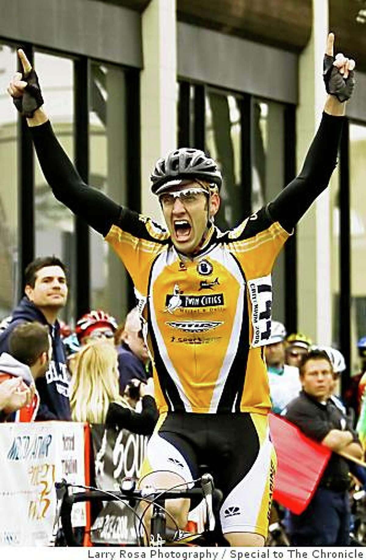 San Francisco cyclist Matt Peterson, who was struck and killed by a Santa Clara Sheriff's cruiser outside Cupertino, Calif., on Sunday, March 9, 2008. The photo is of Peterson crossing the finish line at the Merco Credit Union Downtown Grand Prix, held in Merced, Calif., on Saturday March 1, 2008 Photo by Larry Rosa / Special to The Chronicle