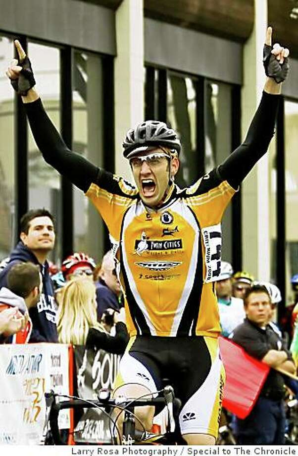 San Francisco cyclist Matt Peterson, who was struck and killed by a Santa Clara Sheriff's cruiser outside Cupertino, Calif., on Sunday, March 9, 2008. The photo is of Peterson crossing the finish line at the Merco Credit Union Downtown Grand Prix,  held in Merced, Calif., on Saturday March 1, 2008  Photo by Larry Rosa / Special to The Chronicle Photo: Larry Rosa Photography, Special To The Chronicle