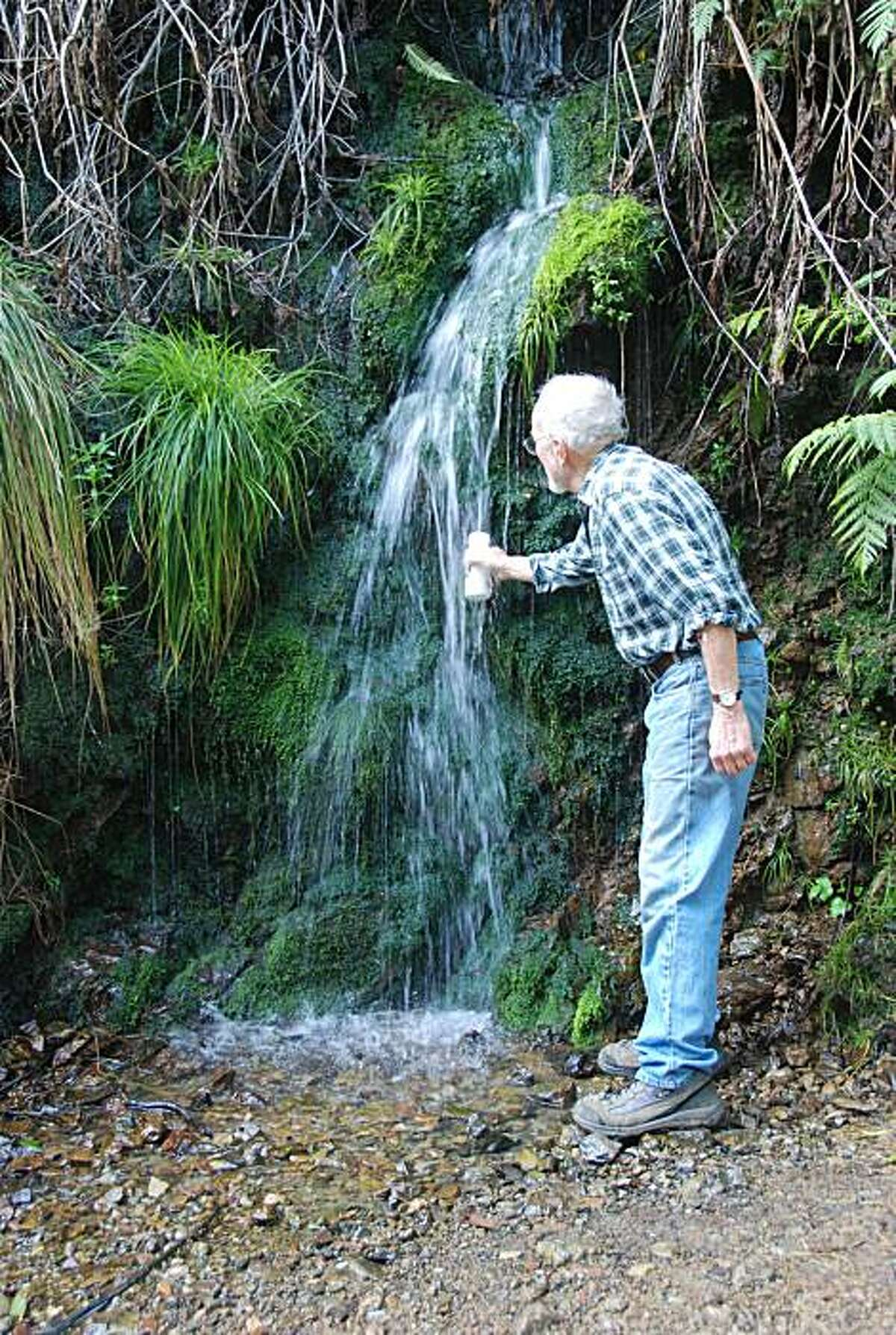 Stopping for fresh water at a natural spring on Mt. Tamalpais.