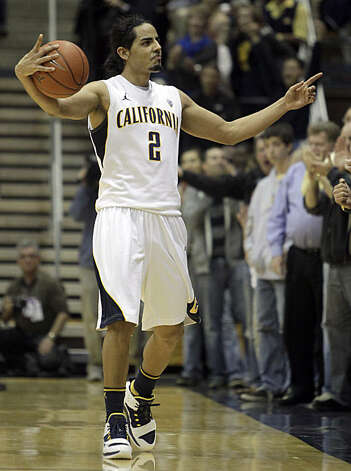 California's Jorge Gutierrez celebrates during the final seconds of overtime during an NCAA college basketball game against UCLA Sunday, Feb. 20, 2011, in Berkeley, Calif. Photo: Ben Margot, AP