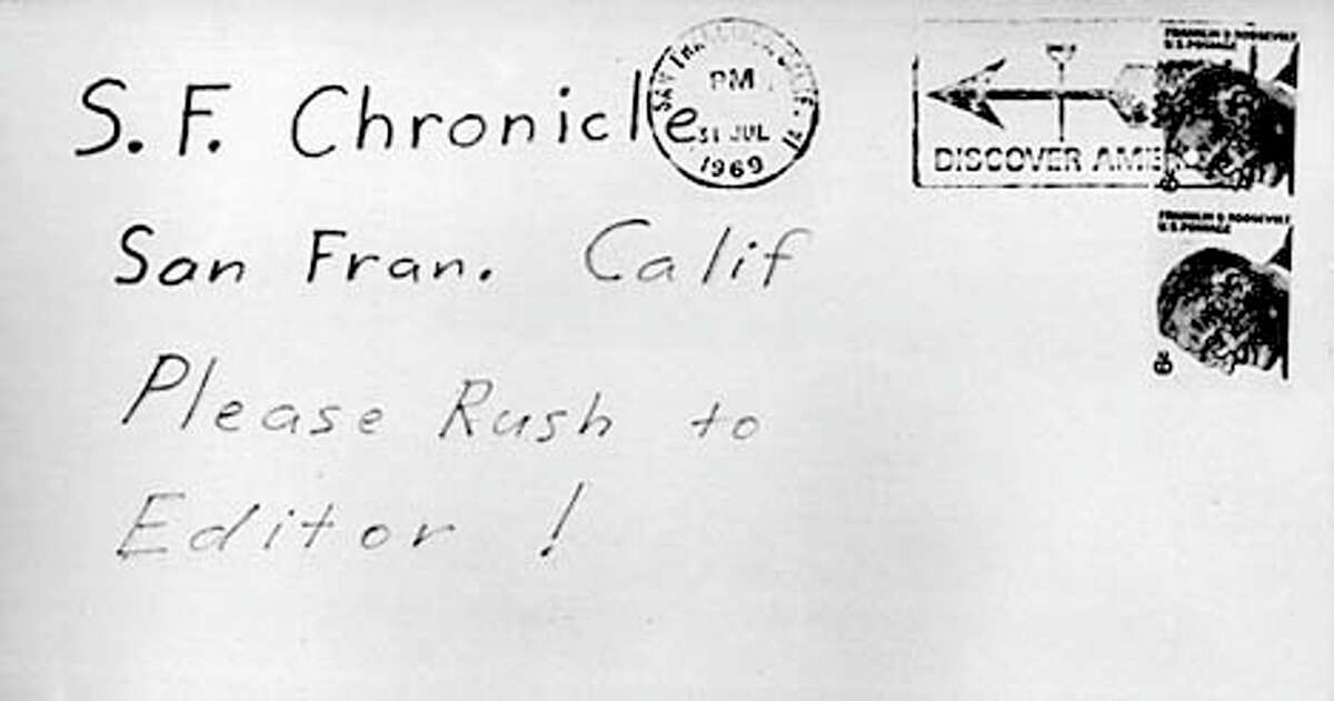 """An envelope addressed to the Chronicle by the killer """"Zodiac"""""""