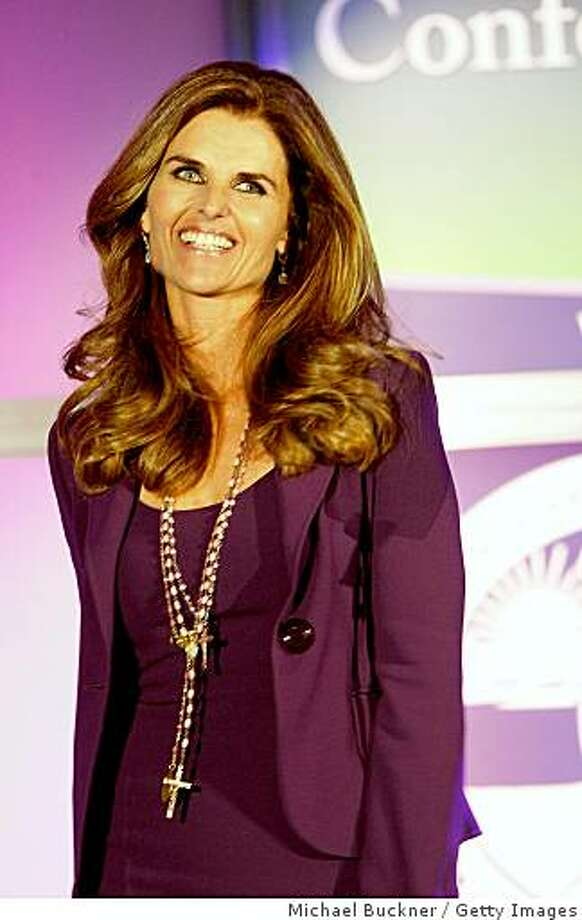 LONG BEACH, CA - OCTOBER 22:  California First Lady Maria Shriver speaks at the 2008 Women's Conference at the Long Beach Convention Center on October 22, 2008 in Long Beach, California.  (Photo by Michael Buckner/Getty Images) Photo: Michael Buckner, Getty Images