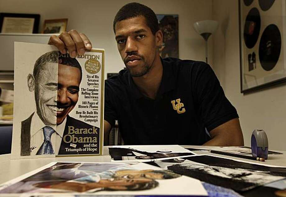 UC Berkely basketball star player Jamal Boykin displays some of his art on Thursday May 7, 2009, in Berkeley, Calif. Boykin has been drawing and painting artwork of President Obama and will be selling them in an upcoming charity event. Photo: Michael Macor, The Chronicle