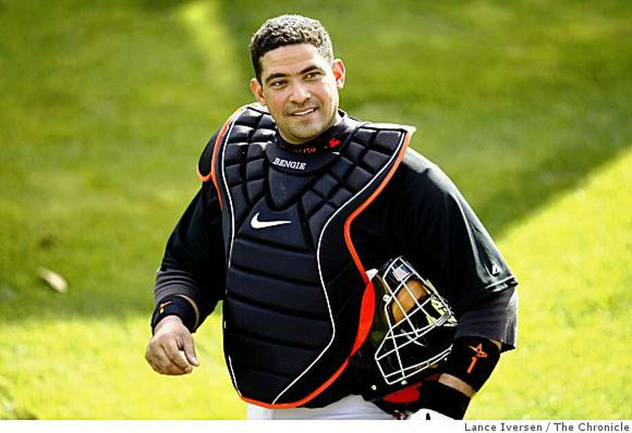 San Francisco Giants catcher Bengie Molina walks into the bullpen during Spring Training at Scottsdale Stadium Sunday February 15, 2009 in Scottsdale Arizona Photo: Lance Iversen, The Chronicle