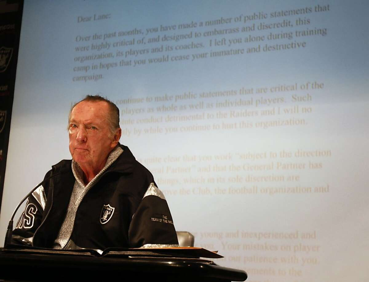 Oakland Raiders owner Al Davis projected a letter he had delivered to then-head coach Lane Kiffin before the second game of the season at a news conference at the team's headquarters in Alameda, Calif., on Tuesday, Sept. 30, 2008. Davis confirmed he fired the second year coach earlier on Tuesday.