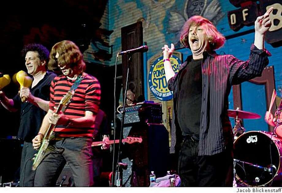 Cyril Jordan (second from the left) and Roy Loney (right), original members of the Flamin' Groovies, performed in public again for the first time in 35 years at the 8th annual Ponderosa Stomp at the House of Blues in New Orleans as part of Jazzfest. They were backed by the A-bones. Photo: Jacob Blickenstaff Jacob Blicken, Jacob Blickenstaff