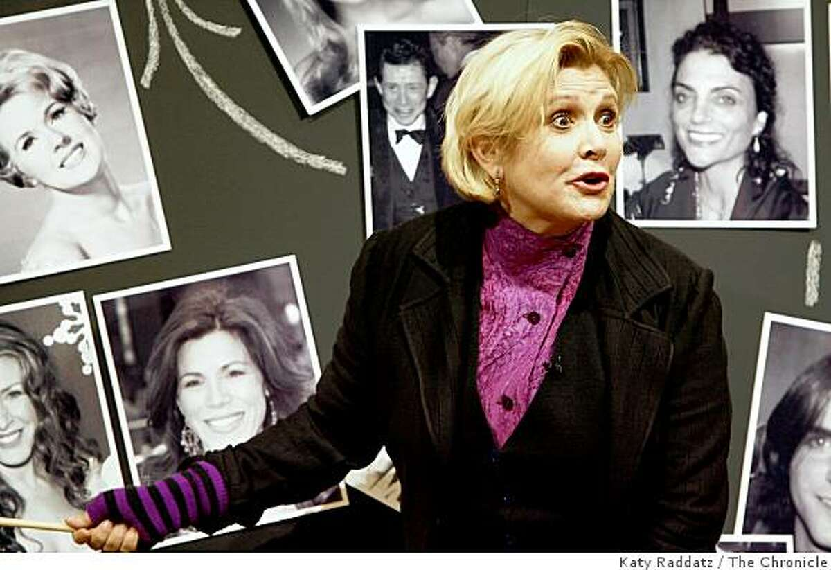 """Carrie Fisher explaining the complicated marriages and divorces of her family in """"Wishful Drinking,"""" her solo show at Berkeley Repertory Theatre's Roda Theater. These pictures were made on Thursday, Feb. 7, 2008, in Berkeley, CA. KATY RADDATZ/The Chronicle"""