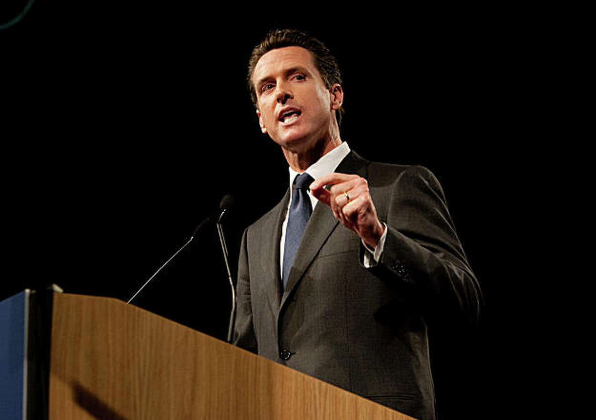San Francisco mayor and 2010 gubernatorial candidate Gavin Newsom speaks at the California Democratic Party state convention in Sacramento Saturday morning, April 25, 2009, at the Convention Center. His rival, state attorney general Jerry Brown, later addressed the delegates. The convention concludes Sunday.