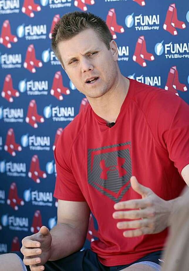 Boston Red Sox pitcher Jonathan Papelbon talks with reporters at the Red Sox spring training facility in Fort Myers, Fla., Sunday, Feb. 13, 2011. Spring training begins Monday for the Red Sox. Photo: Dave Martin, AP