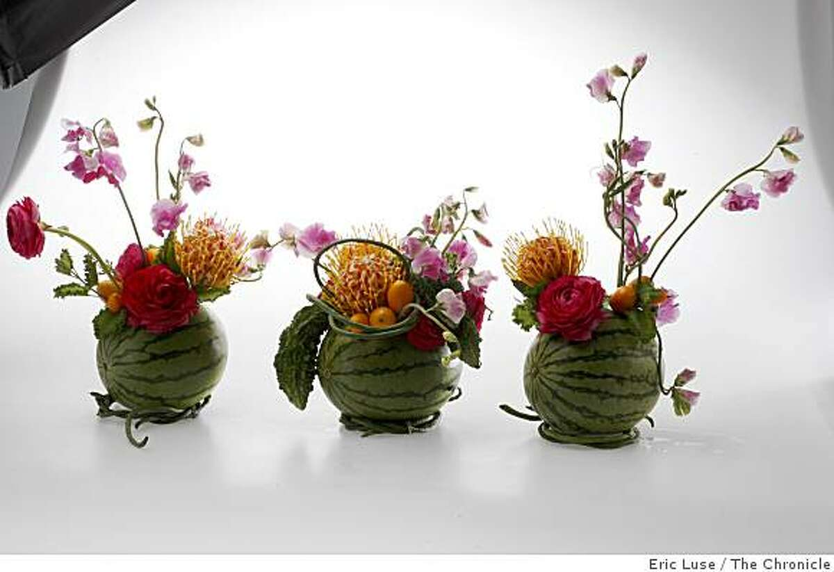 Connie Hubbell designed arrangements photographed in San Francisco on Wednesday, April 16, 2009.