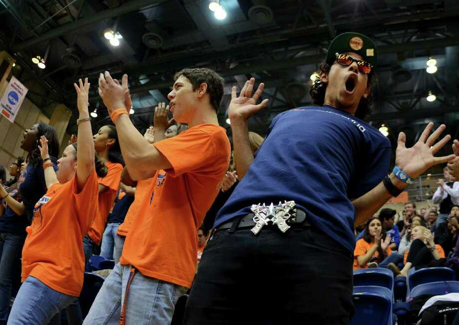 UTSA students celebrate during a Southland Conference mens  basketball game between UTSA and Southeastern Louisiana at the UTSA Convocation Center In San Antonio, Texas on February 8, 2012. John Albright / Special to the Express-News. Photo: Express-News