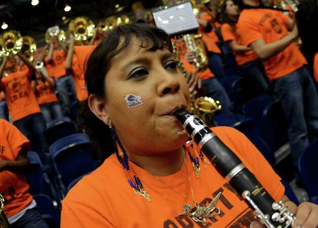 Yslegte Ariste preforms with the UTSA Band during a Southland Conference mens  basketball game between UTSA and Southeastern Louisiana at the UTSA Convocation Center In San Antonio, Texas on February 8, 2012. John Albright / Special to the Express-News. Photo: Express-News