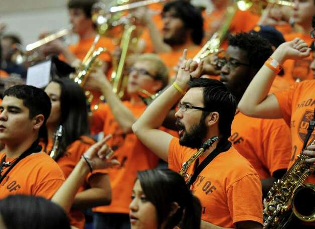 UTSA band members cheer on the Roadrunners during a Southland Conference mens  basketball game between UTSA and Southeastern Louisiana at the UTSA Convocation Center In San Antonio, Texas on February 8, 2012. John Albright / Special to the Express-News. Photo: Express-News