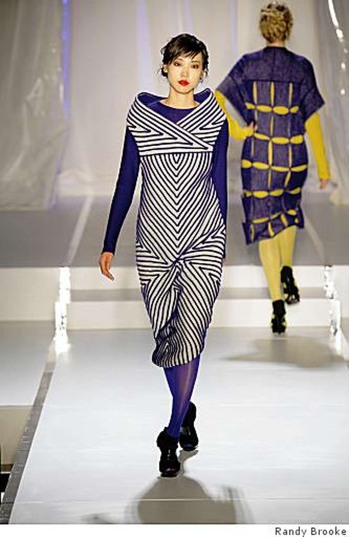 Jessican Bergstrom, a fashion and knitwear design student, showed her designs at the Academy of Art graduate fashion show in San Francisco on April 23.