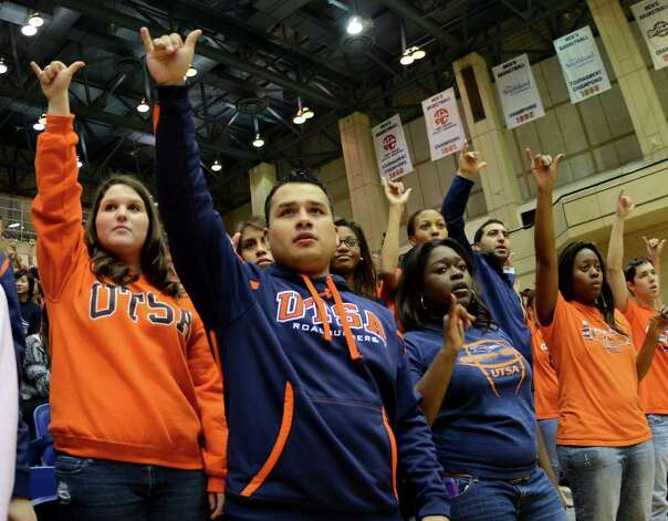 UTSA students cheer on the Roadrunners during a Southland Conference mens  basketball game between UTSA and Southeastern Louisiana at the UTSA Convocation Center In San Antonio, Texas on February 8, 2012. John Albright / Special to the Express-News. Photo: Express-News