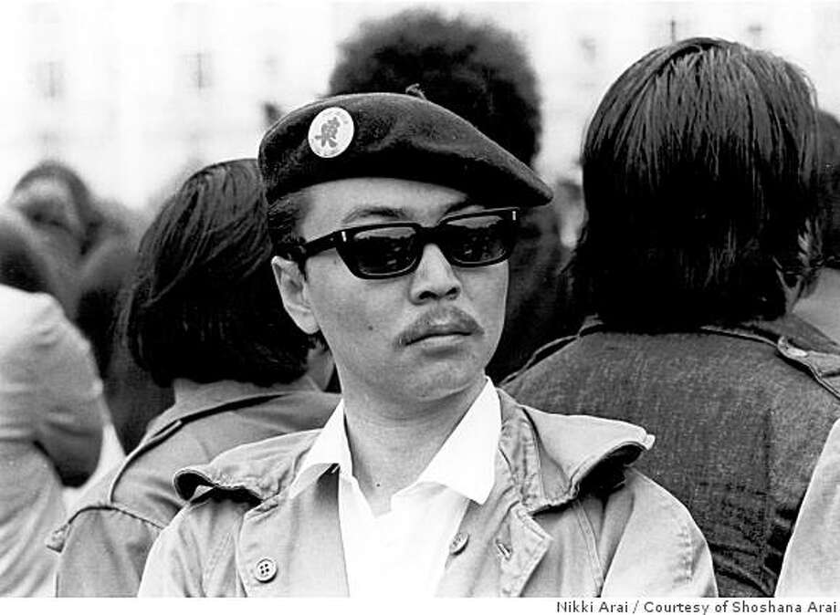 obit photo of Richard Masato Aoki, at a political rally in San Francisco about 1970 / Aoki ?�an Oakland native who was interned as a boy during World War II and later played a key role in the Black Panther Party and the 1969 Third World Liberation Front strike at UC Berkeley.Mr. Aoki was 70?� died at an Oakland hospital on March 15?� after suffering from complications related to diabetes, according to friends.He became the highest ranking Asian member of the Black Panther Party in the late sixties and went on to work for 25 years as a teacher, counselor and interim dean at the Peralta Community College District. All along, he urged students to pursue higher education and fight for social justice. Photo: Nikki Arai, Courtesy Of Shoshana Arai