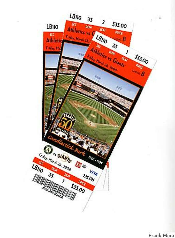 Giants tickets for exhibition game against the Oakland Athletics Photo: Frank Mina