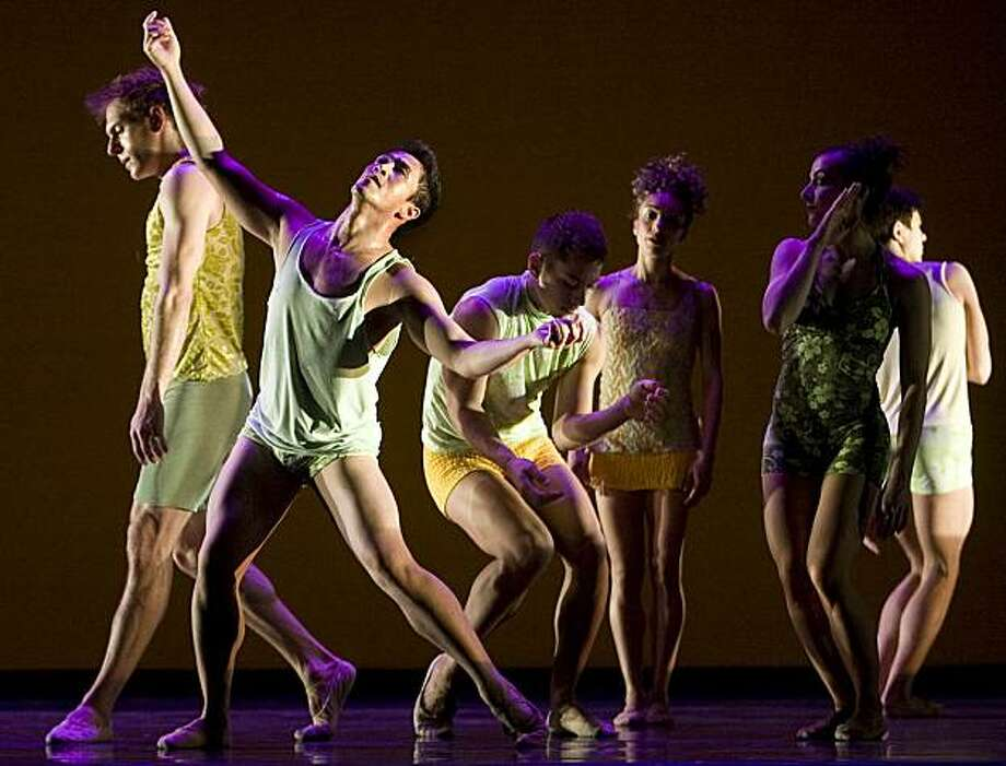 "Daniel Santos (left front and center) and other members of ODC dance  company perform a dance number called ""Grassland"" which is a world premiers at the Buena Center for the Arts in San Francisco, Calif., on March 11, 2009. Photo: Frederic Larson, The Chronicle"
