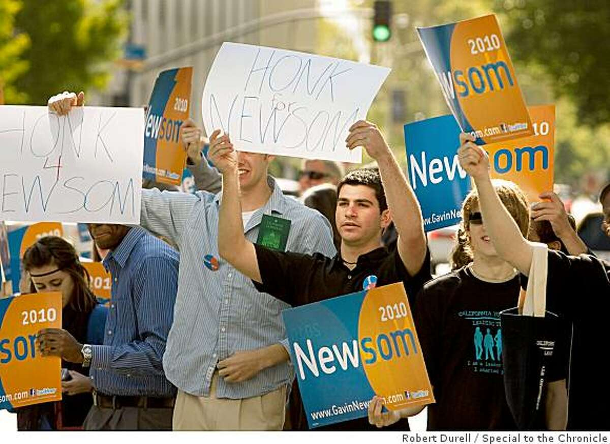 Gavin Newsom supporters shout their approval outside the Sacramento Convention Center where Newsom was addressing the California Democratic Party State Convention, April 25, 2009. Newsom is running against Jerry Brown for the 2010 governorship.