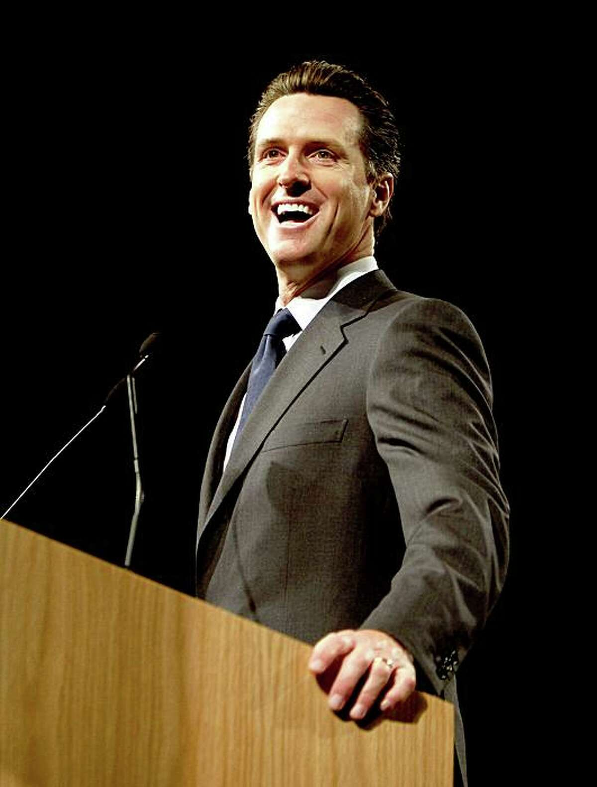 San Francisco mayor and 2010 gubernatorial candidate Gavin Newsom speaks at the California Democratic Party state convention in Sacramento Saturday morning, April 25, 2009, at the Convention Center. His rival, state attorney general Jerry Brown, laer addressed the delegates. The convention concludes Sunday.