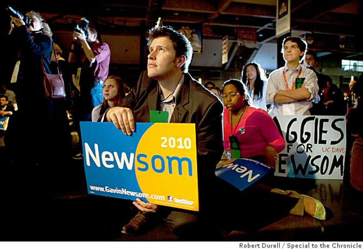 Mitch Emerson, a San Diego State University sudent, listens to San Francisco mayor and 2010 gubernatorial candidate Gavin Newsom as he spoke at the state Democractic convention in Sacramento, California, Saturday, April 25, 2009. Attorney general Jerry Brown, also a gubernatorial candidate, later spoke to the delegates. The convention concludes Sunday.