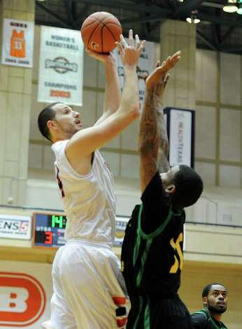 UTSA senior Alex Vouyoukas (14) takes a shot during a Southland Conference mens  basketball game between UTSA and Southeastern Louisiana at the UTSA Convocation Center In San Antonio, Texas on February 8, 2012. John Albright / Special to the Express-News. Photo: Express-News