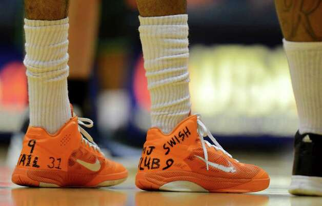 UTSA junior Melvin Johnson's shoes during a Southland Conference mens  basketball game between UTSA and Southeastern Louisiana at the UTSA Convocation Center In San Antonio, Texas on February 8, 2012. John Albright / Special to the Express-News. Photo: Express-News