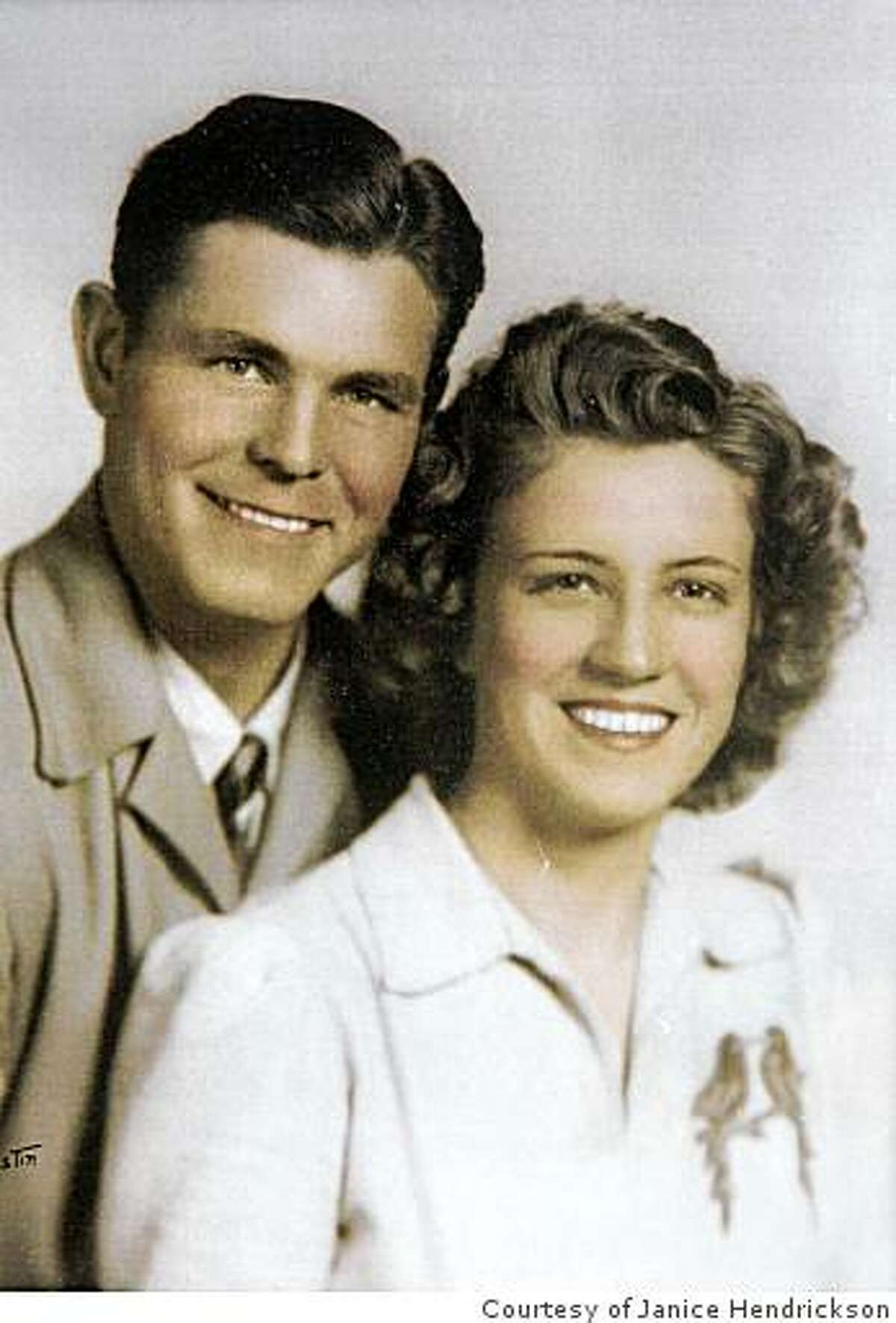 The 1942 or 1943 wedding photo of Guy Ward Hendrickson and his wife Helen Hendrickson provided by their daughter Janice Hendrickson during a press conference Janice held to dispute her step-sister's claim that their father, Guy Ward Hendrickson was the Zodiac killer at the visitor's center in Marin City, Calif. on Friday, May 1, 2009.
