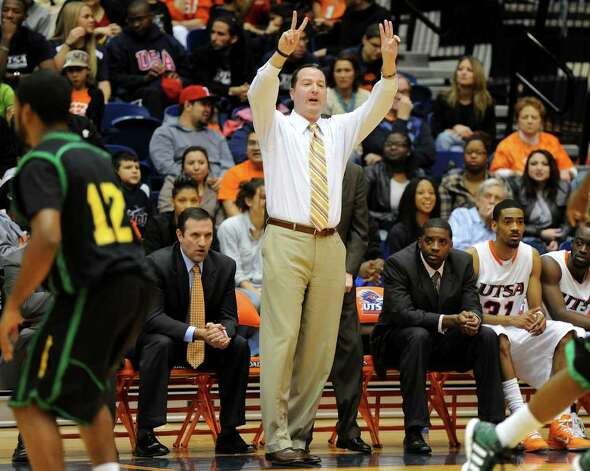 UTSA mens basketball head coach Brooks Thompson calls out a defense during a Southland Conference mens  basketball game between UTSA and Southeastern Louisiana at the UTSA Convocation Center In San Antonio, Texas on February 8, 2012. John Albright / Special to the Express-News. Photo: Express-News