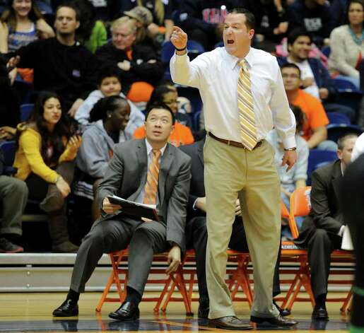 UTSA mens basketball head coach Brooks Thompson yells at an official during a Southland Conference mens  basketball game between UTSA and Southeastern Louisiana at the UTSA Convocation Center In San Antonio, Texas on February 8, 2012. John Albright / Special to the Express-News. Photo: Express-News
