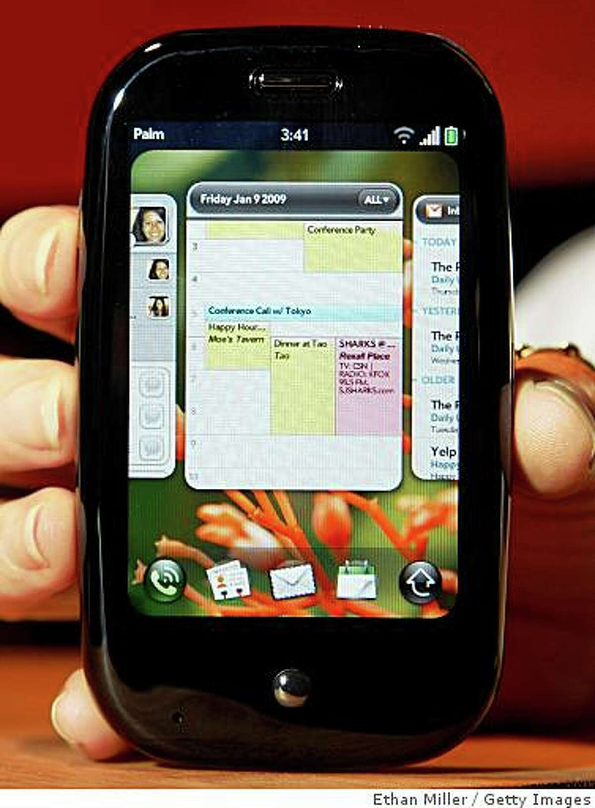 Palm Pre likely to make its debut this monthLAS VEGAS - JANUARY 08: A new Palm Pre smartphone that runs on a new operating system called Palm webOS is displayed at the 2009 International Consumer Electronics Show at the Las Vegas Convention Center January 8, 2009 in Las Vegas, Nevada. The phone has been completely redesigned and features a slider QWERTY keyboard, 3.1 megapixel camera with flash, 8 GB of memory, Wi-Fi, GPS, Bluetooth, a removable battery and a touch screen