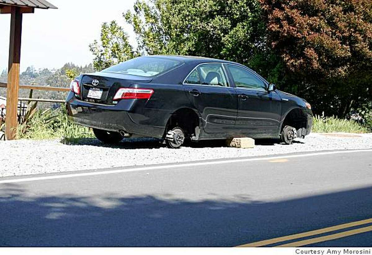 State Attorney General Jerry Brown's hybrid Toyota Camry had two tires stolen while parked near his Oakland home.