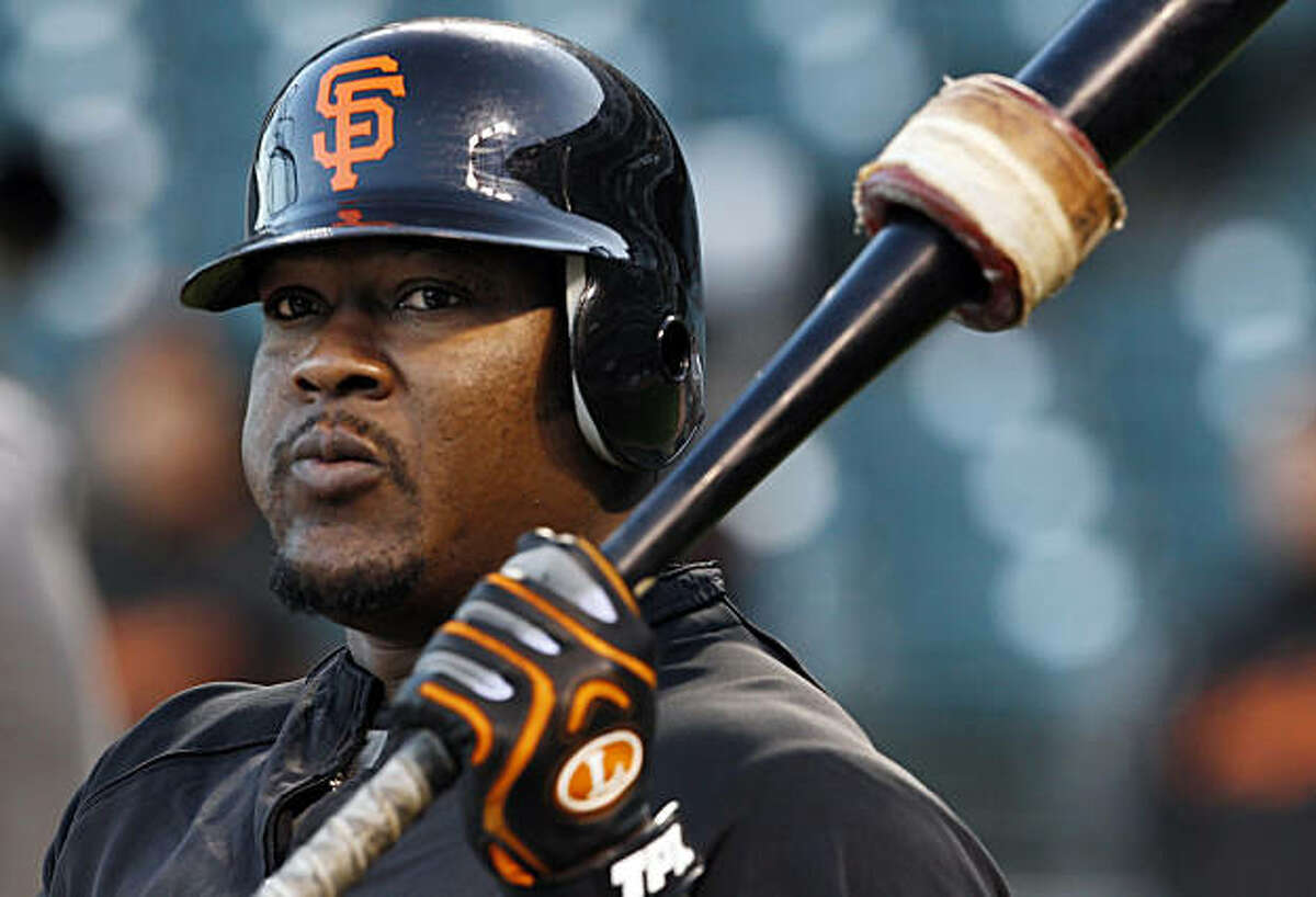 Juan Uribe, whose solo homerun in Game 6 of the NLCS won the game for the Giants, prepares for batting practice. The San Francisco Giants held their first team practice at AT&T Park in San Francisco, Calif., on Monday, October 25, 2010, following their NLCS win over the weekend. The team is now preparing for the World Series which opens at AT&T Park on Wednesday.